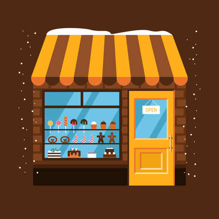 Confectionery shop in new year holidays illustration. Small outdoor market in golden light with striped canopy roof . Illusztráció