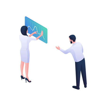 Scientists doctors discuss pandemic statistical curve isometric vector illustration.