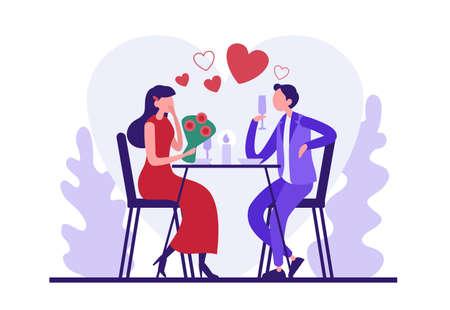 Cartoon couple in love having romantic dinner Illusztráció