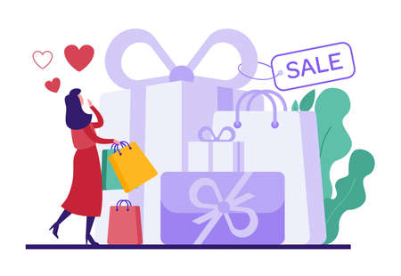 Cartoon woman shopping during Valentine day sales