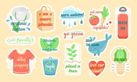 Set of ecology related stickers with slogans Illusztráció