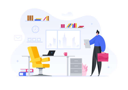 Manager specialist at new place of work vector illustration. Satisfied man examines his new office.