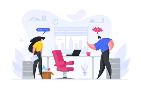 Boss fires employee of company vector flat illustration. An angry man kicks out frustrated woman from work.