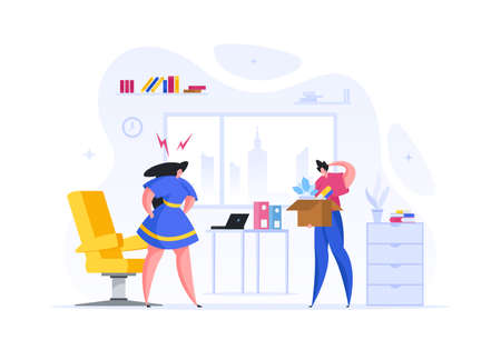 Businesswoman fires bad employee vector illustration. Angry woman boss in office yells at worker.