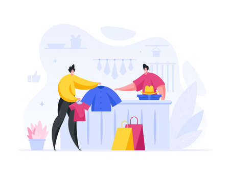 Man buys set stylish clothes in store vector concept. Happy male character holds out fashionable jacket. Illusztráció