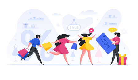 People running for sale of designer items vector flat concept. Group women with bags are in hurry to catch huge discount. Illusztráció