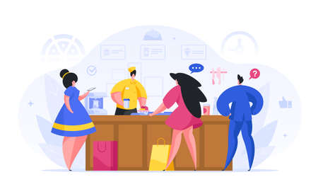 People buy in fast food cafe flat illustration. Two girls receive food and leave online review on their smartphone.