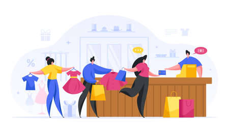 People pay for purchases checkout in fashionable store cartoon concept.
