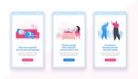 Mobile template banner with information about social distancing and self care