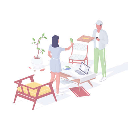 Courier delivery food home isometric vector. Male character hands ordered pizza box into hands of customer.