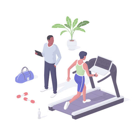 Fitness class cardio machine realistic isometry. Female character on treadmill increases walking pace. Illusztráció