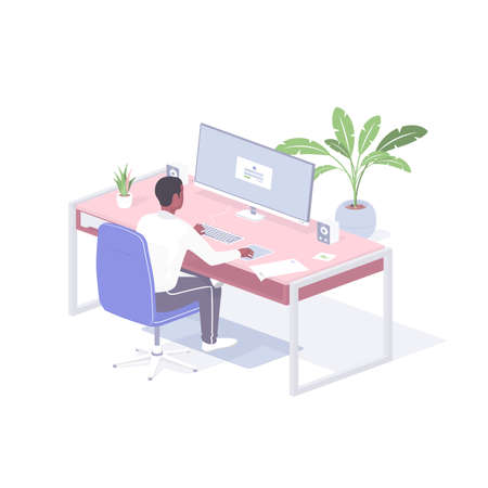 Man works at home online realistic isometry. Male freelancer character sits monitor while finishing project. Illusztráció