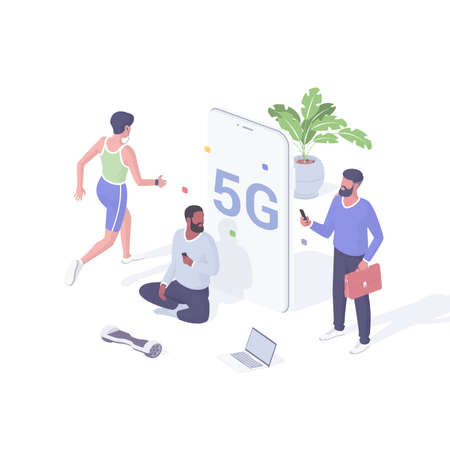 People communicate online using 5g isometric vector. Male characters with smartphones test new network connection speed. Illusztráció