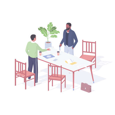Managers holding business meeting realistic isometric. Male characters discussing working presentation at table. Illusztráció