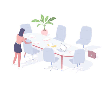 Woman prepares office for business meeting isometric illustration. Female secretary character arranges chairs tidies up before conference.