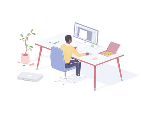 Man eating snack at workplace realistic isometry. Male character sitting computer in office with an open pizza box.