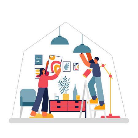 Couple decorating room in new apartment together Illusztráció
