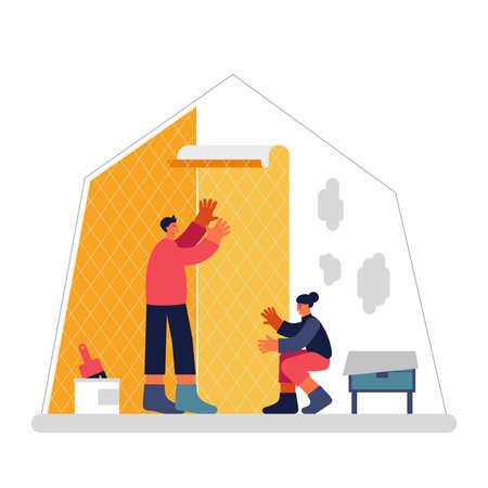 Couple applying wallpaper on wall in apartment Illusztráció