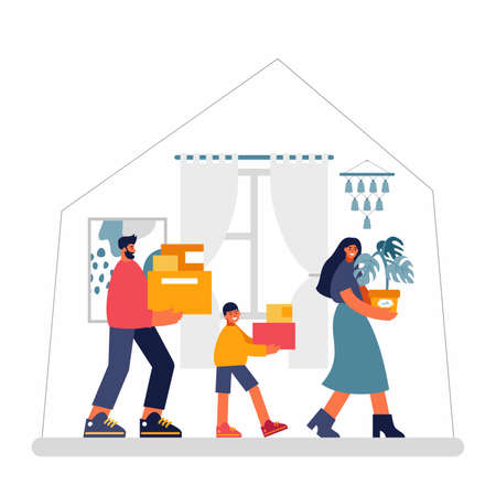 Modern family moving into new apartment together Illusztráció
