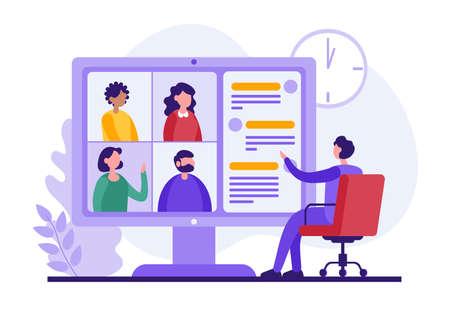 Male employee making video call to colleagues Illusztráció