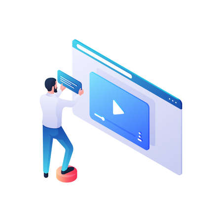 Web video content review isometric illustration. Male character attaches description and storyline to new video clip.