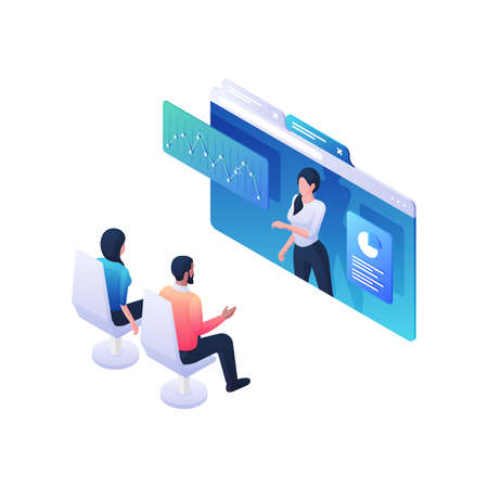 People listening to informative statistics webinar isometric illustration. Male and female characters discussing at online conference.