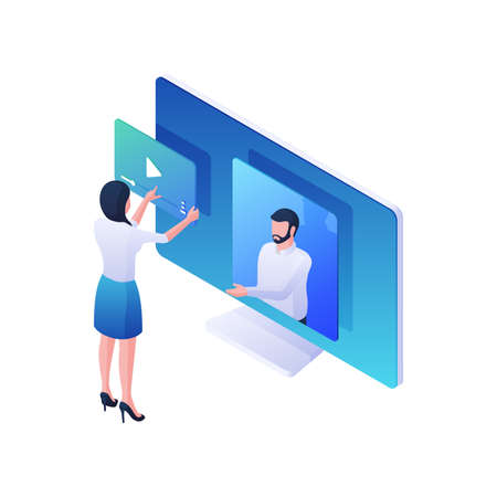 Woman watching video stream service isometric illustration. Female character plays online video on monitor with male announcer. Иллюстрация
