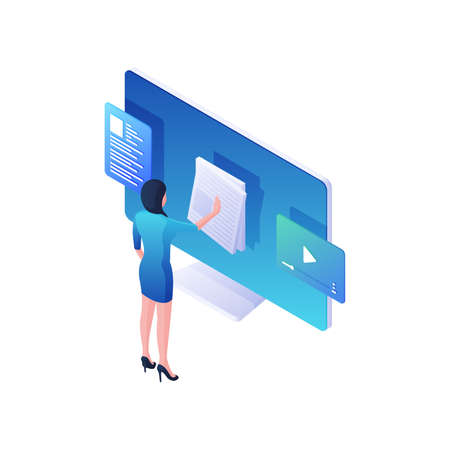 Woman reading online news and watching video isometric illustration. Female character flips through white event bulletins.