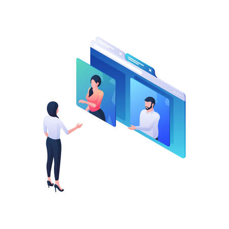 Webinar professional recommendations isometric illustration. Female character listens and asks two online presenters.