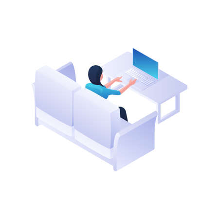 Woman working with laptop home isometric illustration. Female character is sitting on white sofa and quietly typing.