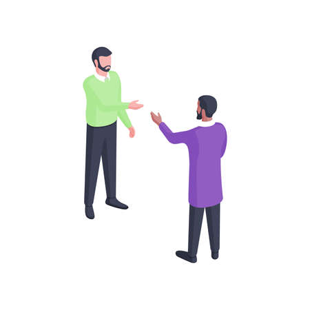 People have discussion isometric illustration. Two male characters in green and purple clothes engaged in enthusiastic dialogue with gesture. Vektoros illusztráció