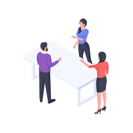 Group business discussion isometric illustration. Female characters office workers argue and engage in dialogue with male colleague.