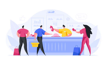 People buy meat and sausages in grocery store vector concept.