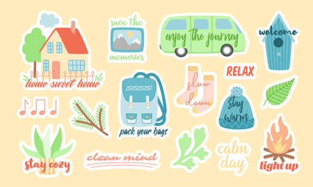 Set of stickers for travel and camping