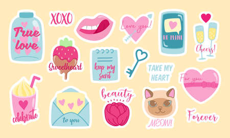 Set of girlish stickers For Valentines Day