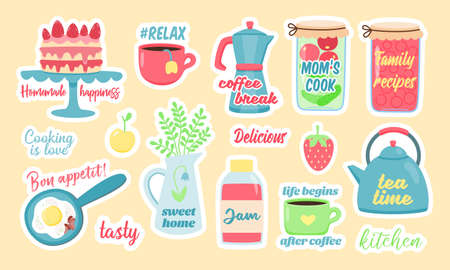 Creative stickers with homemade drinks and snacks