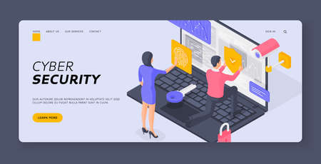 Isometric man and woman submitting fingerprint scan man putting protection shield on data of laptop vector illustration