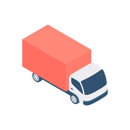 Vector design of cartoon red delivery truck