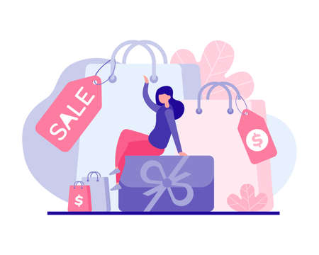 Favorable shopping for holiday discount vector flat concept. Female character sitting on gift box surrounded by promotional sale bags.
