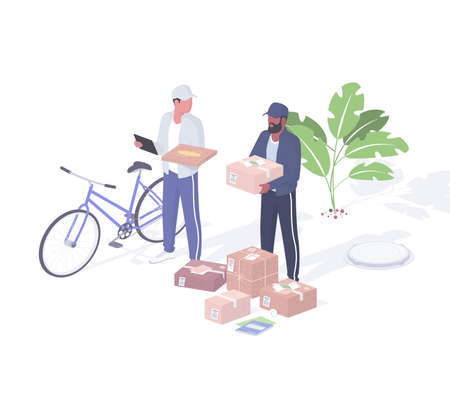 Couriers sort and load parcels realistic isometric. Male characters delivery service workers with tablet and boxes in hands.