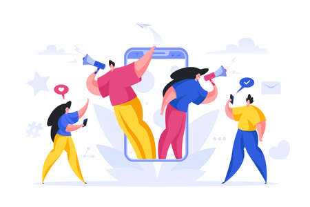 Managers calling online new employees vector cartoon concept. Male and female character with megaphones from smartphone shouting about new project. Ilustración de vector