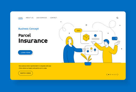 Parcel insurance landing page banner template. Modern couple ordering delivery to home. Flat line vector illustration