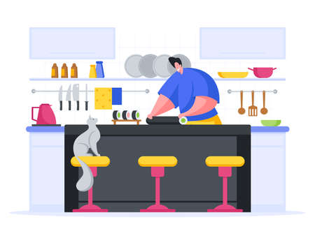 Chef makes sushi rolls cartoon vector illustration. Male character in kitchen in blue uniform rolling piece sushi.