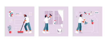 Modern woman doing household chores at home