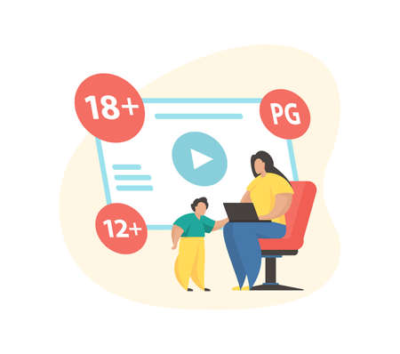 Rating content system. Age restriction signs. Flat vector illustration