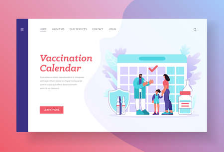 Vaccination calendar banner template. Mother with daughter visiting doctor for vaccination