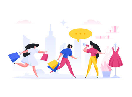 Manager inviting women to store. Flat vector illustration Vetores
