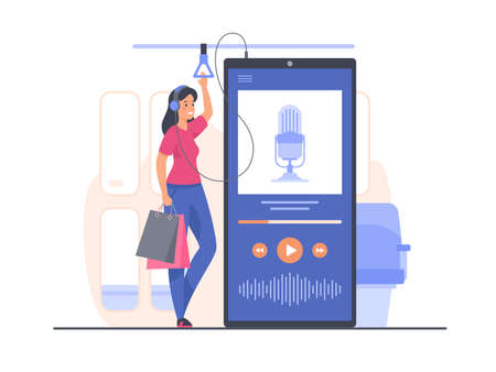Podcast concept illustration. Woman listening podcast in public transport