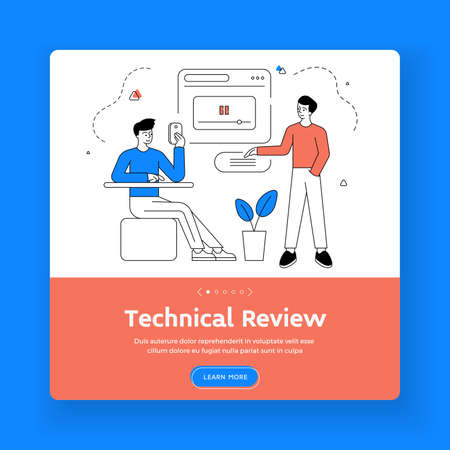 Technical review square banner template. Vector illustration of linear male friends watching product review video and reading comments in social media Vektorové ilustrace