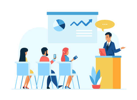Business training offline meeting. Seminar, conference, personnel training cource. Cartoon characters business coach and listeners. Flat vector illustration